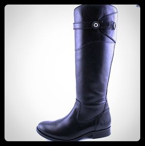 FRYE Molly Button Tall Boot Black Leather 6.5 NWOB